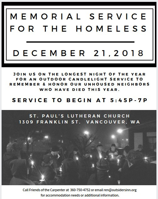 Memorial Service for the Homeless 2018